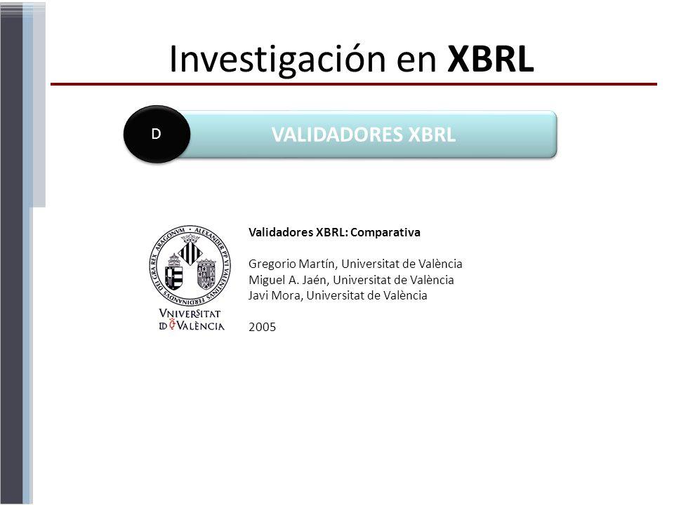Investigación en XBRL VALIDADORES XBRL D D Validadores XBRL: Comparativa Gregorio Martín, Universitat de València Miguel A. Jaén, Universitat de Valèn