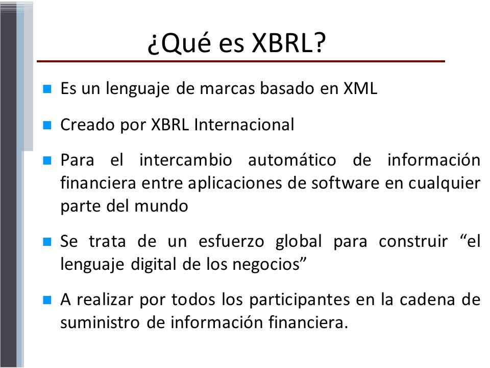 Es un lenguaje de marcas basado en XML Creado por XBRL Internacional Para el intercambio automático de información financiera entre aplicaciones de so