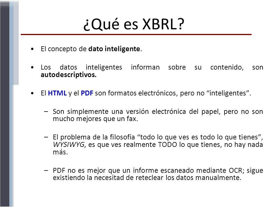 El concepto de dato inteligente. Los datos inteligentes informan sobre su contenido, son autodescriptivos. El HTML y el PDF son formatos electrónicos,