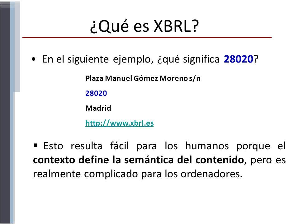 En el siguiente ejemplo, ¿qué significa 28020? Plaza Manuel Gómez Moreno s/n 28020 Madrid http://www.xbrl.es Esto resulta fácil para los humanos porqu