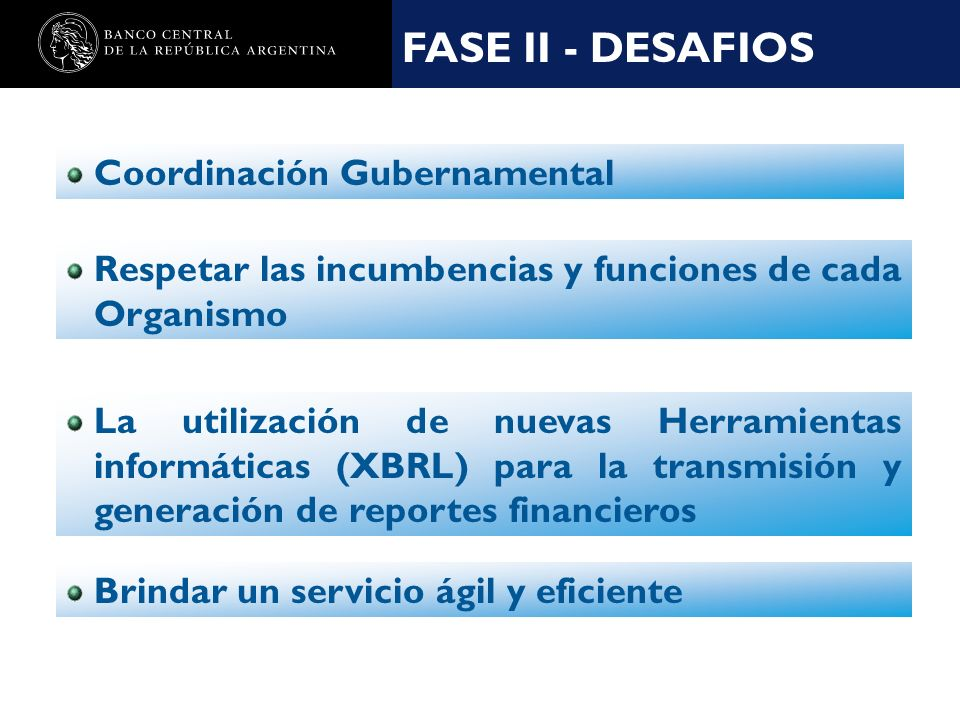 Nombre de la presentación en cuerpo 17 La utilización de nuevas Herramientas informáticas (XBRL) para la transmisión y generación de reportes financieros FASE II - DESAFIOS Coordinación Gubernamental Respetar las incumbencias y funciones de cada Organismo Brindar un servicio ágil y eficiente