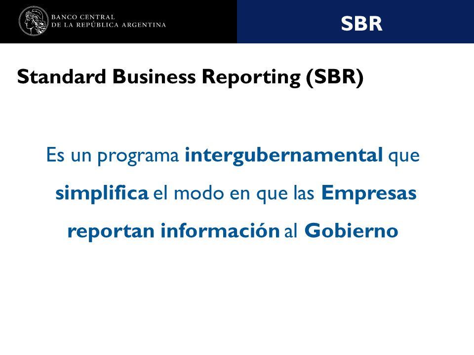 Nombre de la presentación en cuerpo 17 Standard Business Reporting (SBR) Es un programa intergubernamental que simplifica el modo en que las Empresas reportan información al Gobierno SBR
