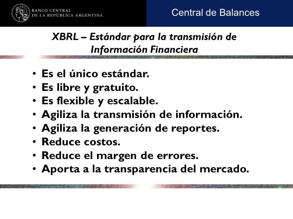 Nombre de la presentación en cuerpo 17 Central de Balances Es el único estándar.