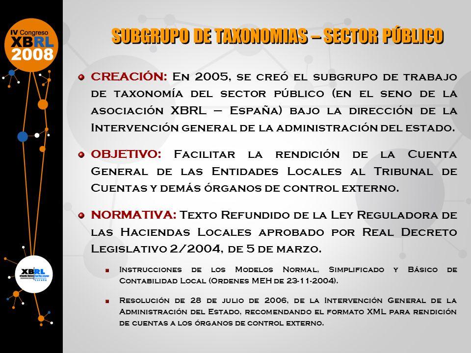 CREACIÓN: En 2005, se creó el subgrupo de trabajo de taxonomía del sector público (en el seno de la asociación XBRL – España) bajo la dirección de la Intervención general de la administración del estado.