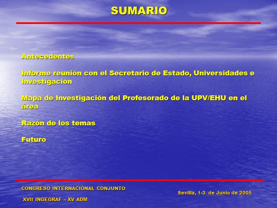 Sevilla, 1-3 de Junio de 2005 SUMARIOAntecedentes Informe reunión con el Secretario de Estado, Universidades e Investigación Mapa de Investigación del