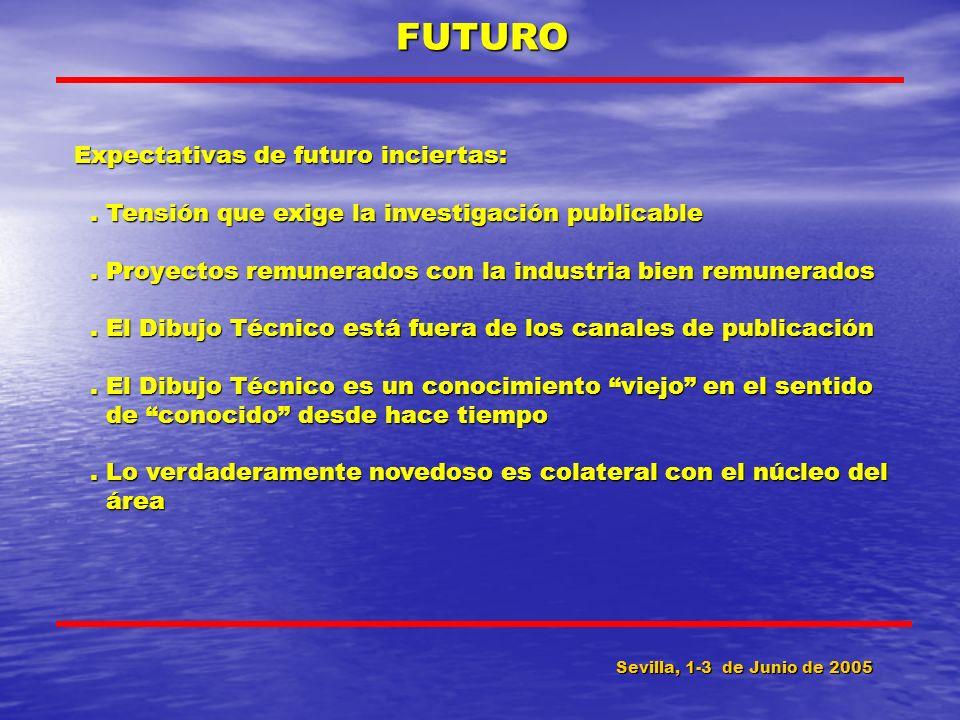Sevilla, 1-3 de Junio de 2005 FUTURO Expectativas de futuro inciertas:. Tensión que exige la investigación publicable. Tensión que exige la investigac