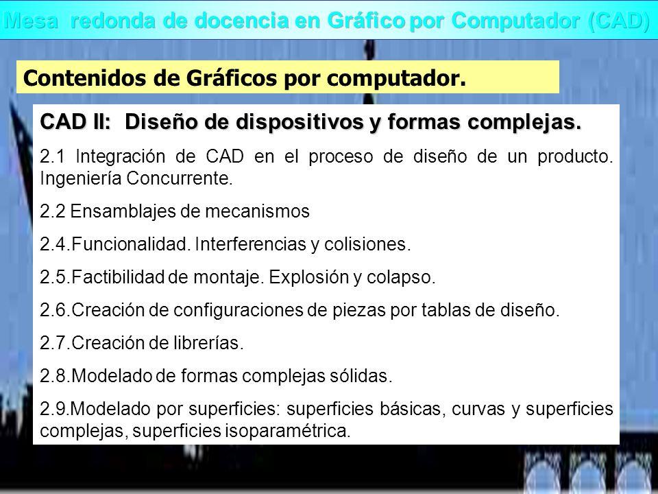 Contenidos de Gráficos por computador. CAD II: Diseño de dispositivos y formas complejas. 2.1 Integración de CAD en el proceso de diseño de un product