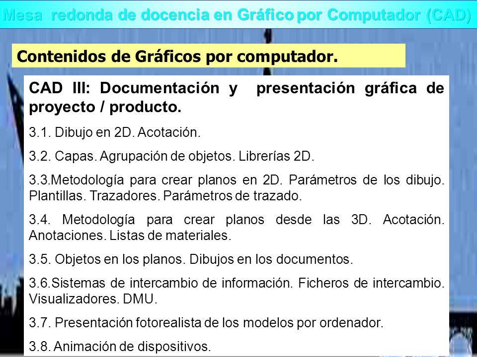 Contenidos de Gráficos por computador. CAD III: Documentación y presentación gráfica de proyecto / producto. 3.1. Dibujo en 2D. Acotación. 3.2. Capas.