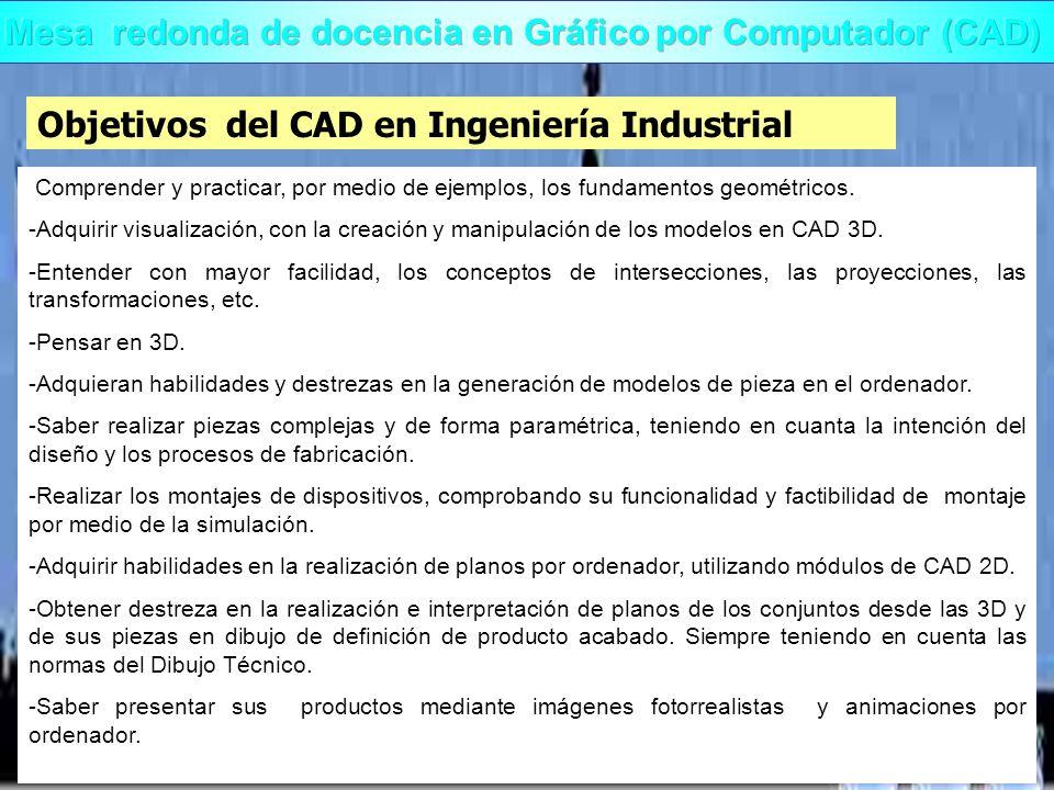 Objetivos del CAD en Ingeniería Industrial Comprender y practicar, por medio de ejemplos, los fundamentos geométricos. -Adquirir visualización, con la