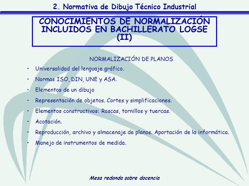 Mesa redonda sobre docencia 2. Normativa de Dibujo Técnico Industrial NORMALIZACIÓN DE PLANOS Universalidad del lenguaje gráfico. Normas ISO, DIN, UNE