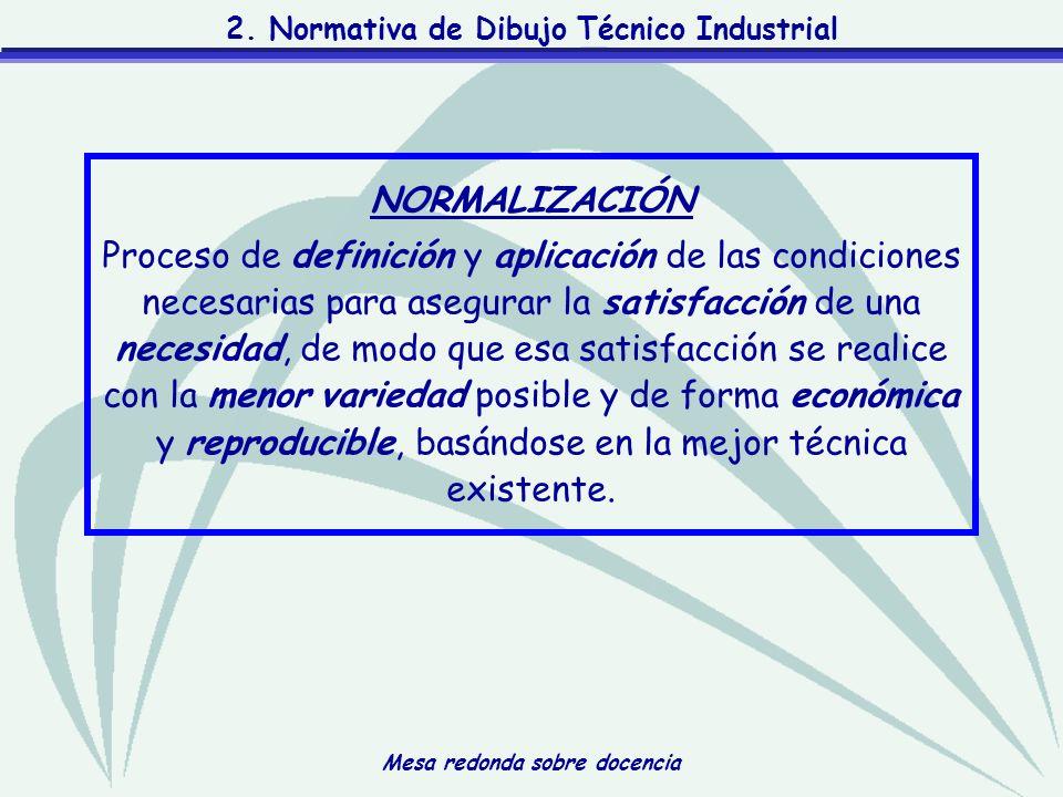 Mesa redonda sobre docencia 2. Normativa de Dibujo Técnico Industrial NORMALIZACIÓN Proceso de definición y aplicación de las condiciones necesarias p