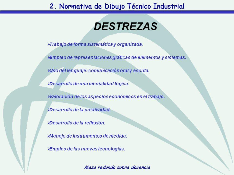 Mesa redonda sobre docencia 2. Normativa de Dibujo Técnico Industrial Trabajo de forma sistemática y organizada. Empleo de representaciones gráficas d