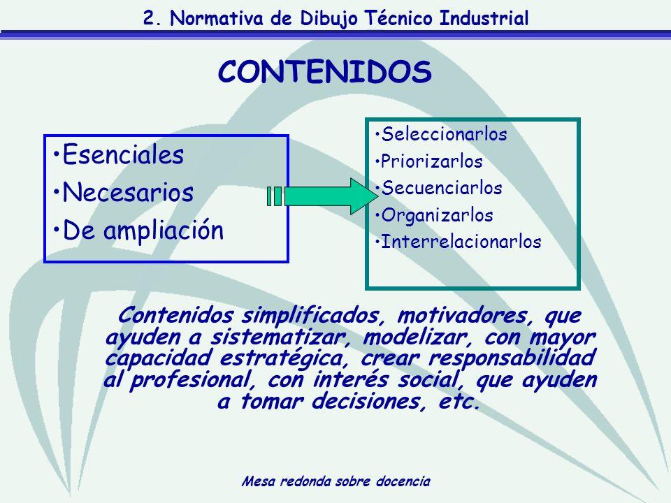 Mesa redonda sobre docencia 2. Normativa de Dibujo Técnico Industrial Esenciales Necesarios De ampliación Contenidos simplificados, motivadores, que a