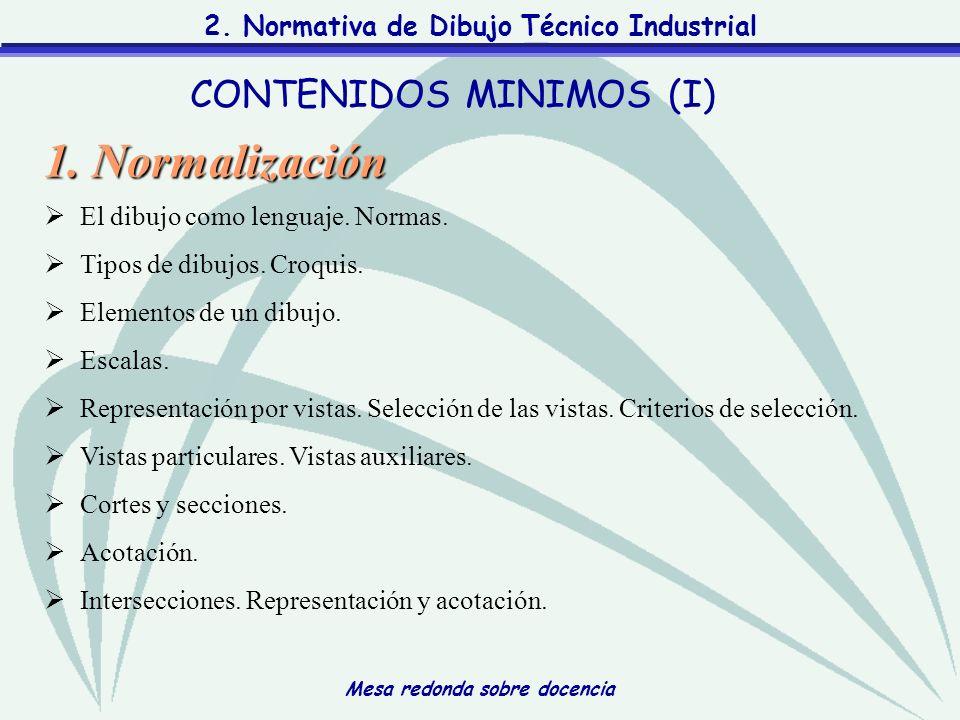 Mesa redonda sobre docencia 2. Normativa de Dibujo Técnico Industrial CONTENIDOS MINIMOS (I) 1. Normalización El dibujo como lenguaje. Normas. Tipos d