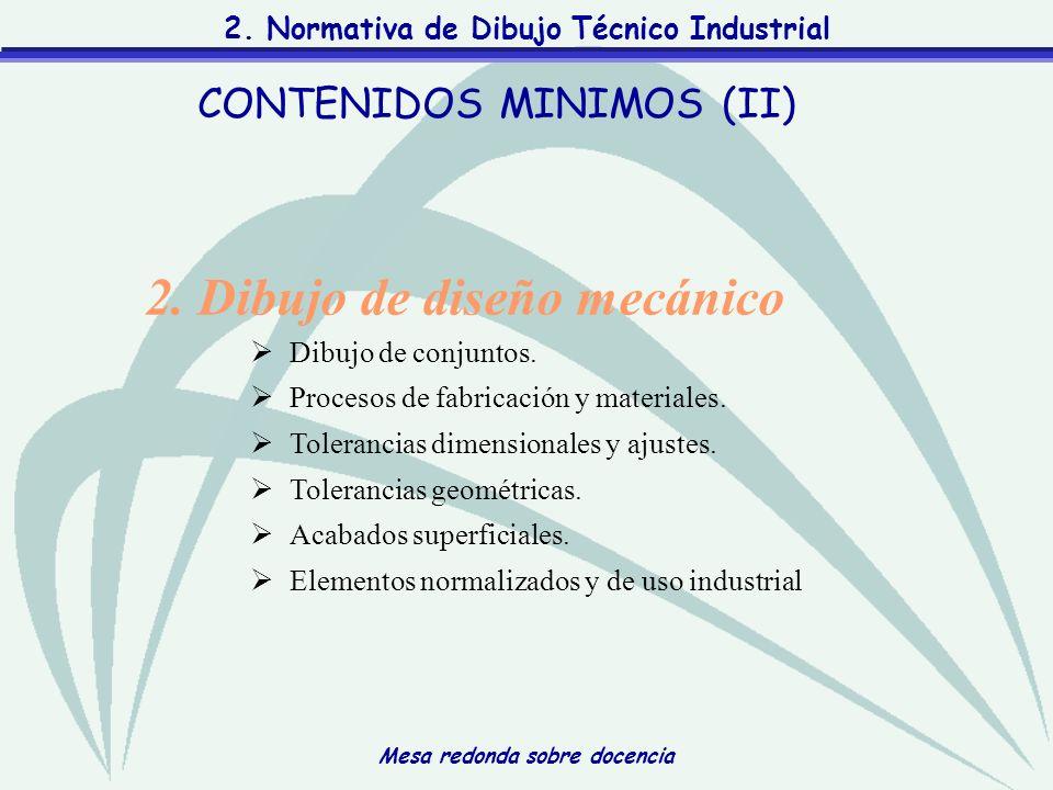 Mesa redonda sobre docencia 2. Normativa de Dibujo Técnico Industrial 2. Dibujo de diseño mecánico Dibujo de conjuntos. Procesos de fabricación y mate