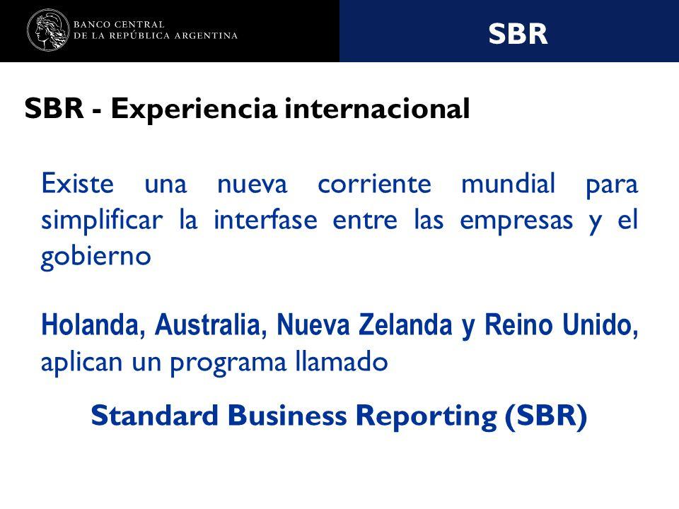 Nombre de la presentación en cuerpo 17 SBR SBR - Experiencia internacional Existe una nueva corriente mundial para simplificar la interfase entre las empresas y el gobierno Holanda, Australia, Nueva Zelanda y Reino Unido, aplican un programa llamado Standard Business Reporting (SBR)