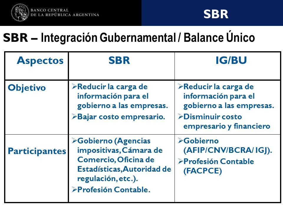 Nombre de la presentación en cuerpo 17 SBR SBR – Integración Gubernamental / Balance Único Gobierno (AFIP/CNV/BCRA/ IGJ).