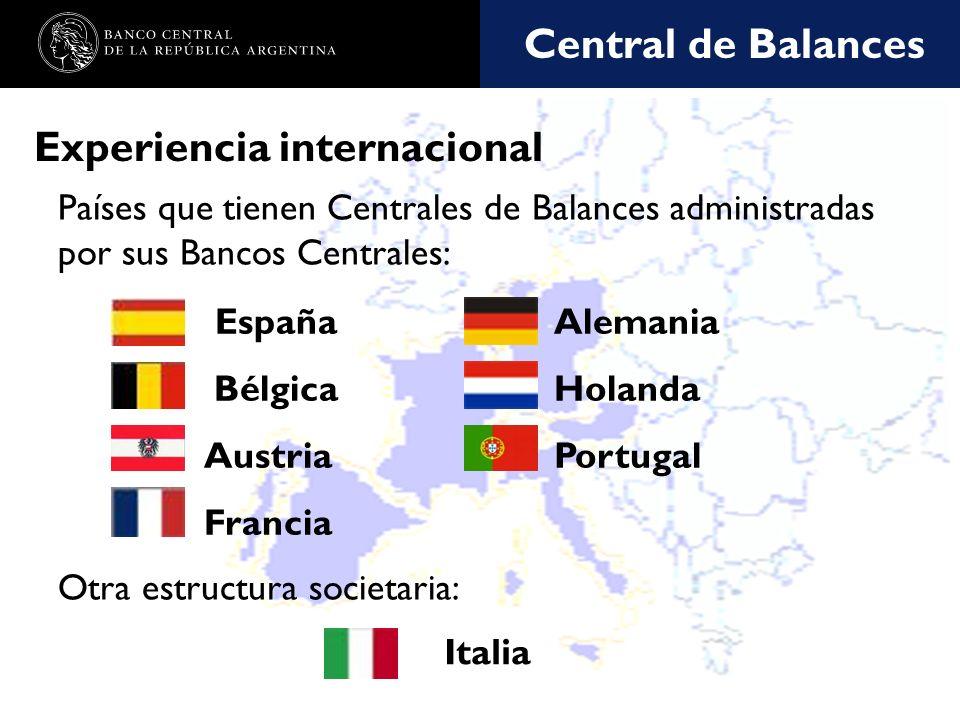Nombre de la presentación en cuerpo 17 Experiencia internacional Países que tienen Centrales de Balances administradas por sus Bancos Centrales: Alemania Holanda Portugal España Bélgica Austria Francia Otra estructura societaria: Italia Central de Balances