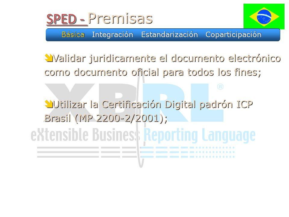 SPED - SPED - Premisas Básica Integración Estandarización Coparticipación Validar juridicamente el documento electrónico como documento oficial para todos los fines; Utilizar la Certificación Digital padrón ICP Brasil (MP 2200-2/2001); Validar juridicamente el documento electrónico como documento oficial para todos los fines; Utilizar la Certificación Digital padrón ICP Brasil (MP 2200-2/2001);
