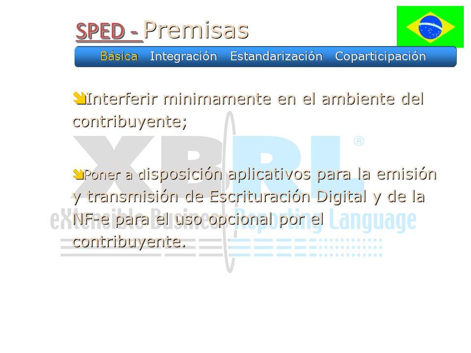 SPED - SPED - Premisas Interferir minimamente en el ambiente del contribuyente; Poner a d isposición aplicativos para la emisión y transmisión de Escrituración Digital y de la NF-e para el uso opcional por el contribuyente.