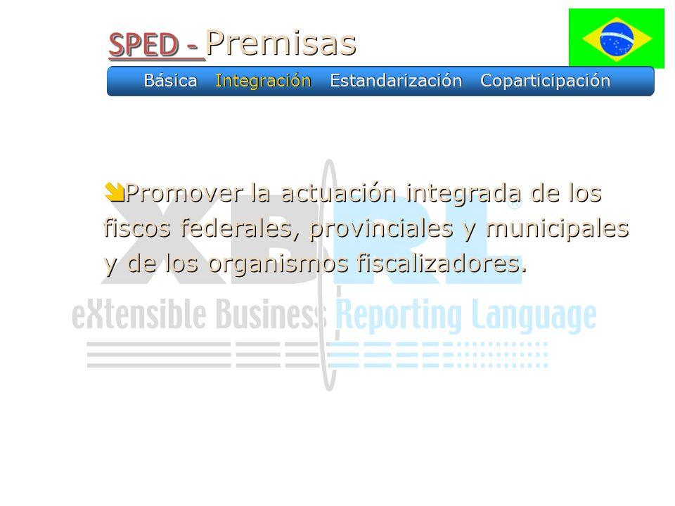 SPED - SPED - Premisas Promover la actuación integrada de los fiscos federales, provinciales y municipales y de los organismos fiscalizadores. Básica