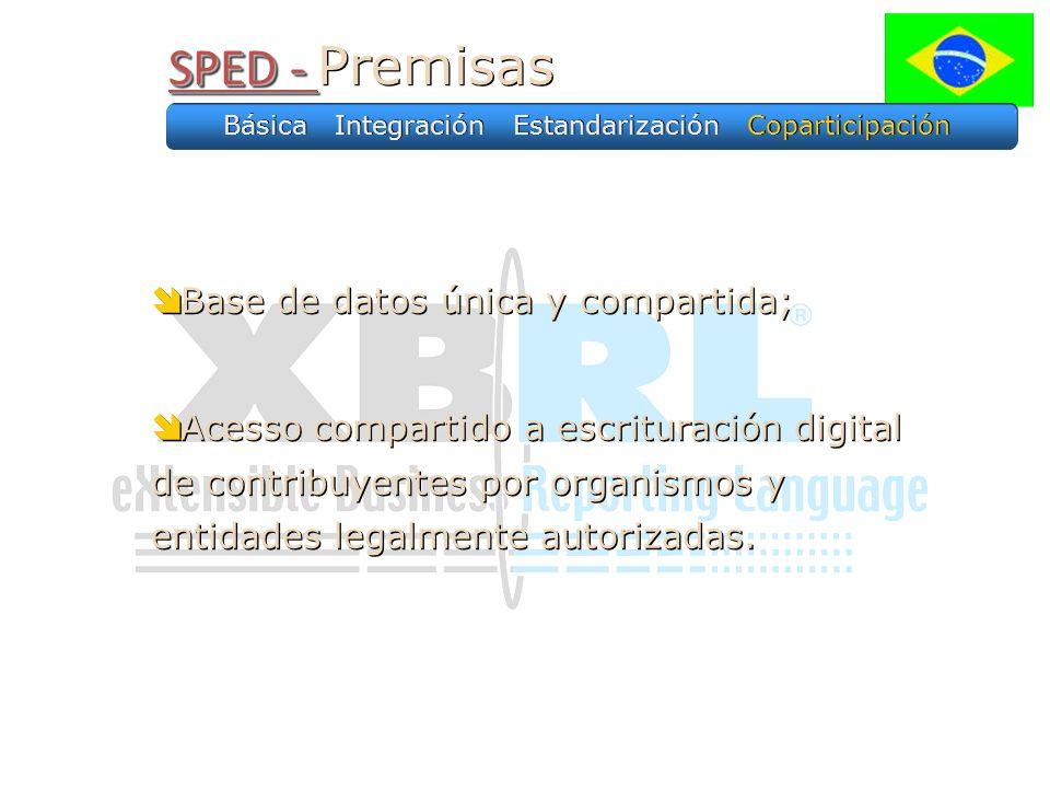 SPED - SPED - Premisas Base de datos única y compartida; Acesso compartido a escrituración digital de contribuyentes por organismos y entidades legalm