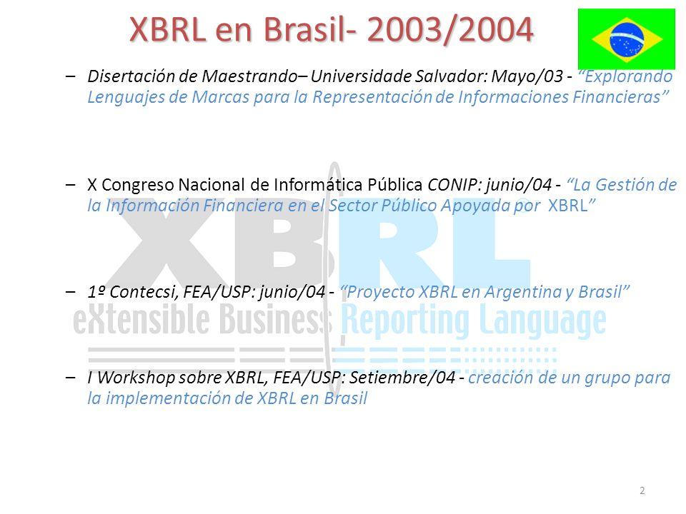 2 XBRL en Brasil- 2003/2004 –Disertación de Maestrando– Universidade Salvador: Mayo/03 - Explorando Lenguajes de Marcas para la Representación de Informaciones Financieras –I Workshop sobre XBRL, FEA/USP: Setiembre/04 - creación de un grupo para la implementación de XBRL en Brasil –1º Contecsi, FEA/USP: junio/04 - Proyecto XBRL en Argentina y Brasil –X Congreso Nacional de Informática Pública CONIP: junio/04 - La Gestión de la Información Financiera en el Sector Público Apoyada por XBRL