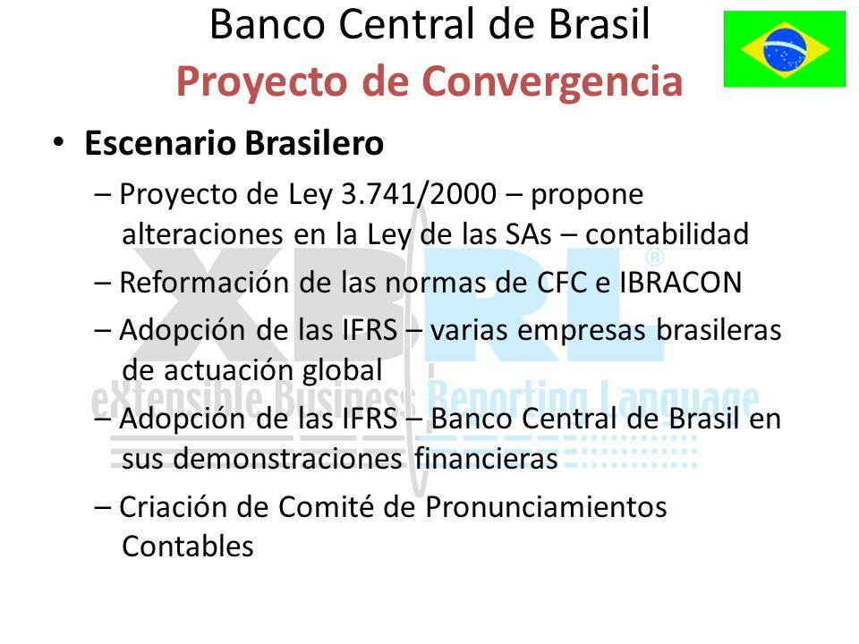 Escenario Brasilero – Proyecto de Ley 3.741/2000 – propone alteraciones en la Ley de las SAs – contabilidad – Reformación de las normas de CFC e IBRACON – Adopción de las IFRS – varias empresas brasileras de actuación global – Adopción de las IFRS – Banco Central de Brasil en sus demonstraciones financieras – Criación de Comité de Pronunciamientos Contables Banco Central de Brasil Proyecto de Convergencia