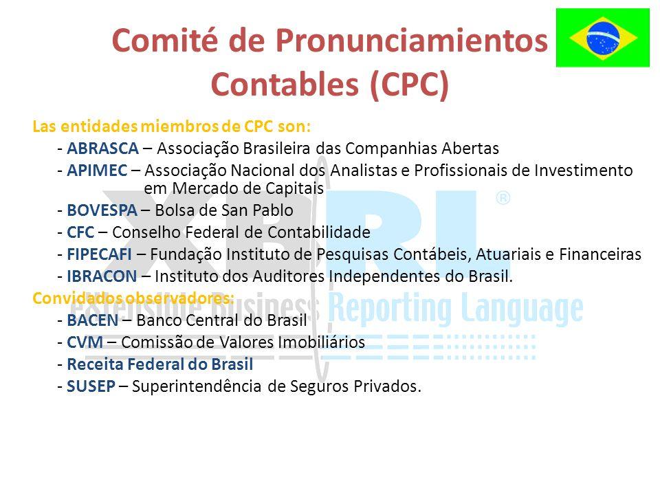 Las entidades miembros de CPC son: - ABRASCA – Associação Brasileira das Companhias Abertas - APIMEC – Associação Nacional dos Analistas e Profissionais de Investimento em Mercado de Capitais - BOVESPA – Bolsa de San Pablo - CFC – Conselho Federal de Contabilidade - FIPECAFI – Fundação Instituto de Pesquisas Contábeis, Atuariais e Financeiras - IBRACON – Instituto dos Auditores Independentes do Brasil.