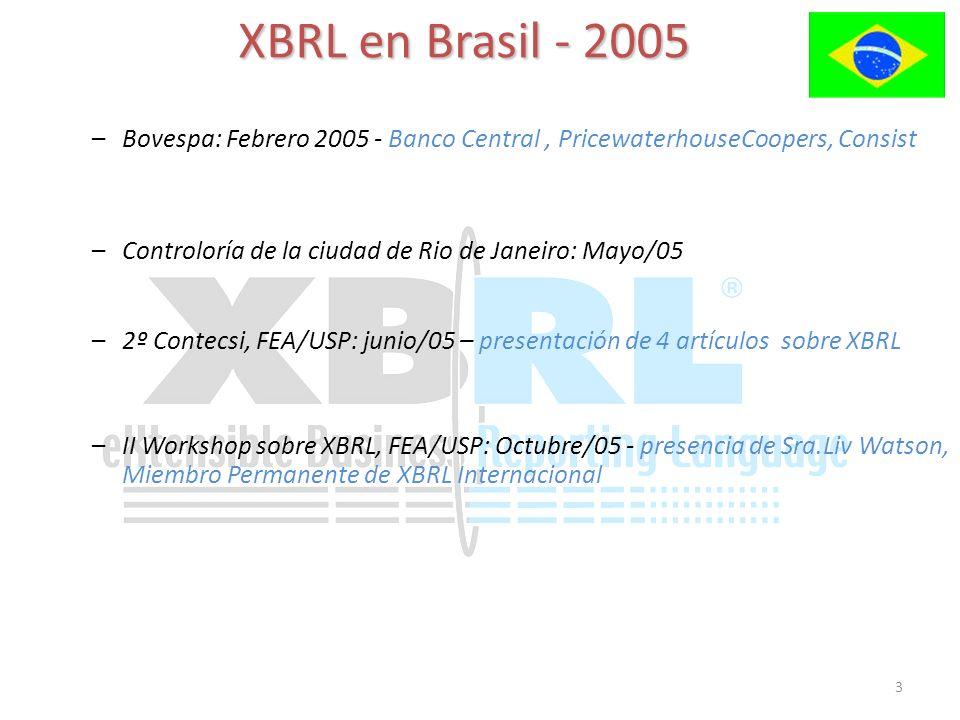 3 XBRL en Brasil - 2005 –Bovespa: Febrero 2005 - Banco Central, PricewaterhouseCoopers, Consist –2º Contecsi, FEA/USP: junio/05 – presentación de 4 artículos sobre XBRL –II Workshop sobre XBRL, FEA/USP: Octubre/05 - presencia de Sra.Liv Watson, Miembro Permanente de XBRL Internacional –Controloría de la ciudad de Rio de Janeiro: Mayo/05