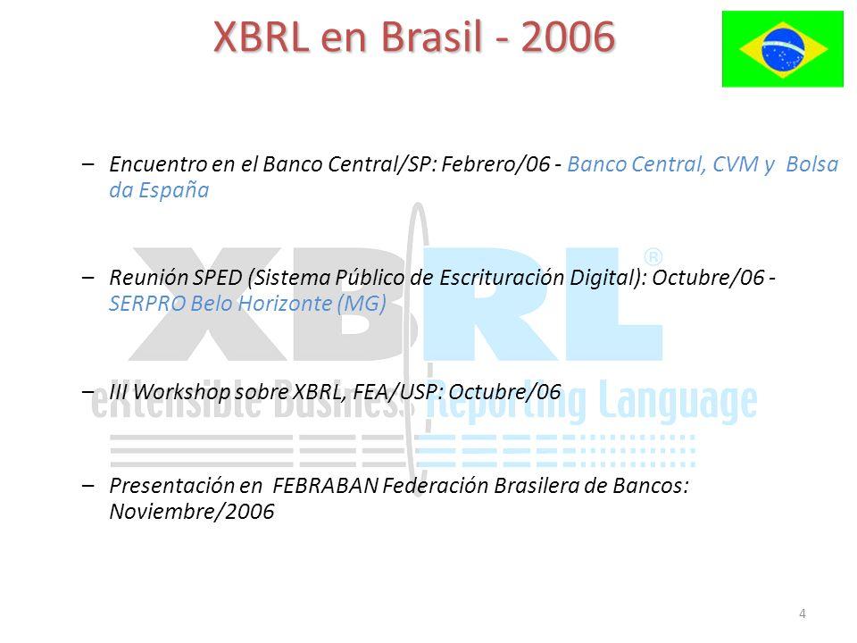 4 XBRL en Brasil - 2006 –Encuentro en el Banco Central/SP: Febrero/06 - Banco Central, CVM y Bolsa da España –III Workshop sobre XBRL, FEA/USP: Octubr