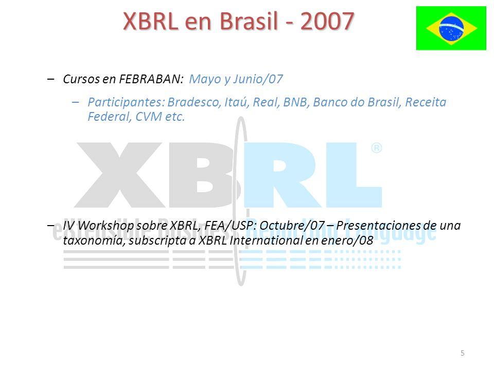 5 XBRL en Brasil - 2007 –Cursos en FEBRABAN: Mayo y Junio/07 –Participantes: Bradesco, Itaú, Real, BNB, Banco do Brasil, Receita Federal, CVM etc. –IV