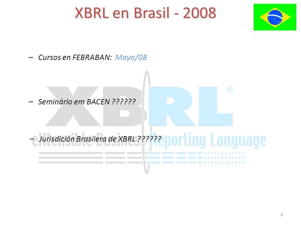 6 XBRL en Brasil - 2008 –Cursos en FEBRABAN: Mayo/08 –Seminário em BACEN ?????.