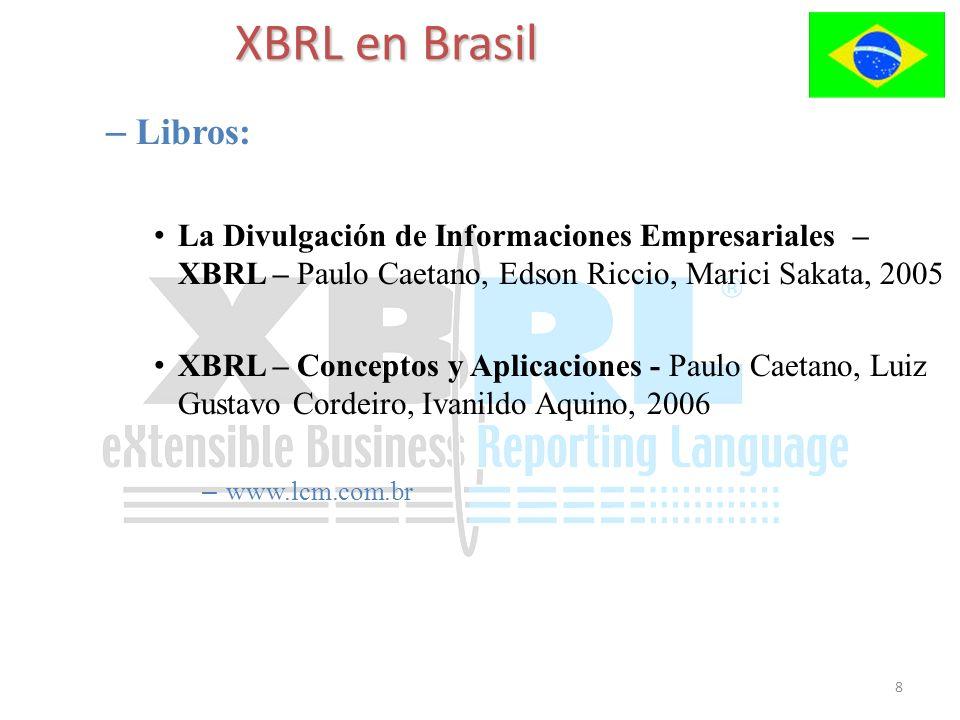 8 – Libros: La Divulgación de Informaciones Empresariales – XBRL – Paulo Caetano, Edson Riccio, Marici Sakata, 2005 XBRL – Conceptos y Aplicaciones -