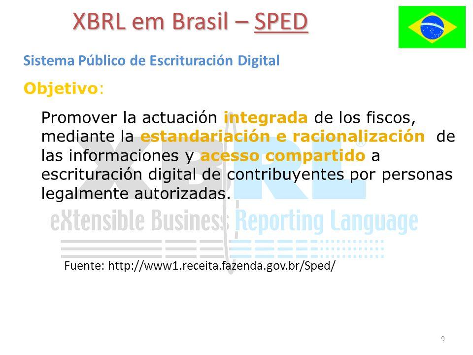 9 XBRL em Brasil – SPED Sistema Público de Escrituración Digital Objetivo: Promover la actuación integrada de los fiscos, mediante la estandariación e