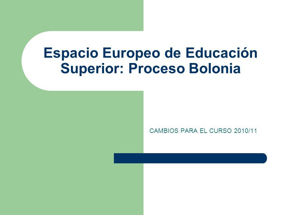 Espacio Europeo de Educación Superior: Proceso Bolonia CAMBIOS PARA EL CURSO 2010/11