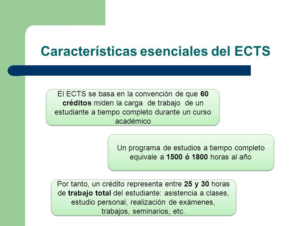 Características esenciales del ECTS El ECTS se basa en la convención de que 60 créditos miden la carga de trabajo de un estudiante a tiempo completo d