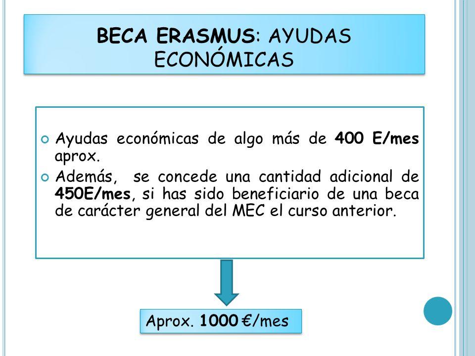 Ayudas económicas de algo más de 400 E/mes aprox. Además, se concede una cantidad adicional de 450E/mes, si has sido beneficiario de una beca de carác