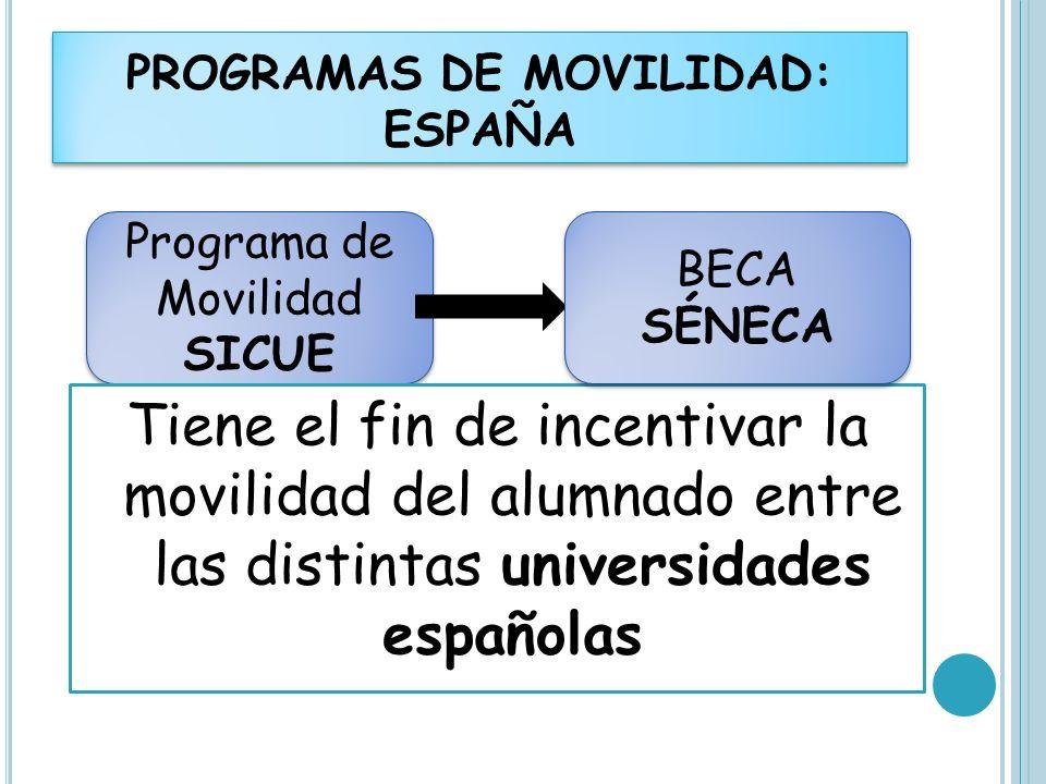 PROGRAMAS DE MOVILIDAD: ESPAÑA Programa de Movilidad SICUE Tiene el fin de incentivar la movilidad del alumnado entre las distintas universidades espa