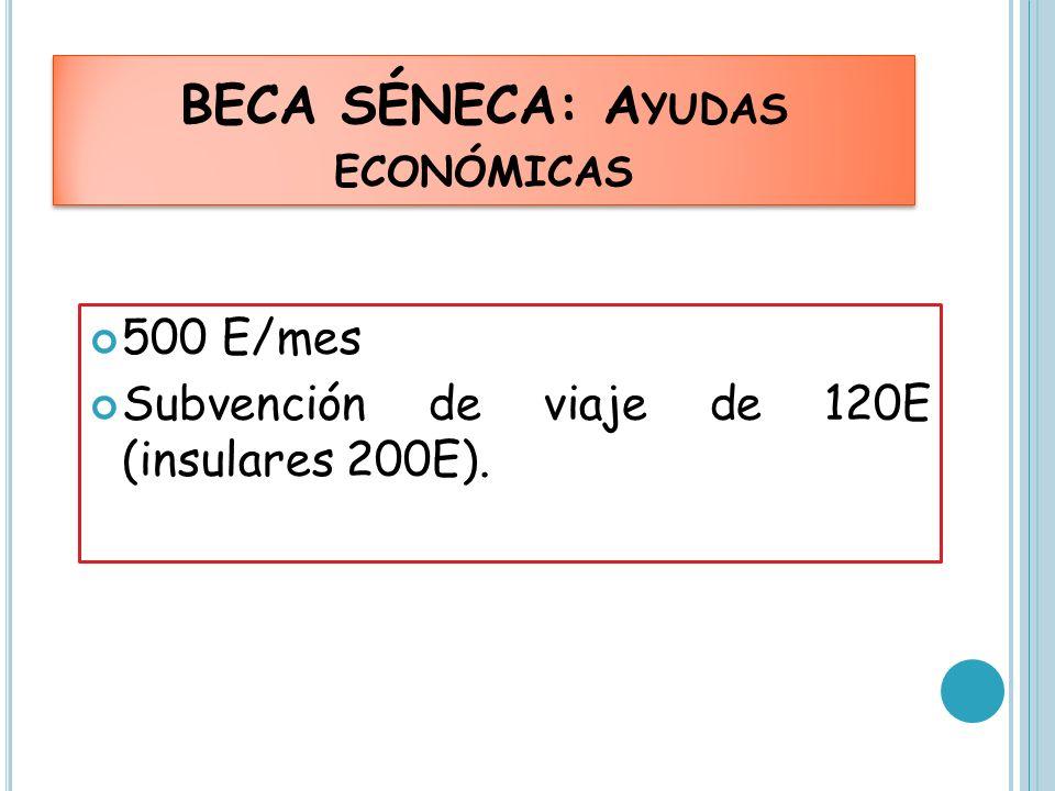 BECA SÉNECA: A YUDAS ECONÓMICAS 500 E/mes Subvención de viaje de 120E (insulares 200E).