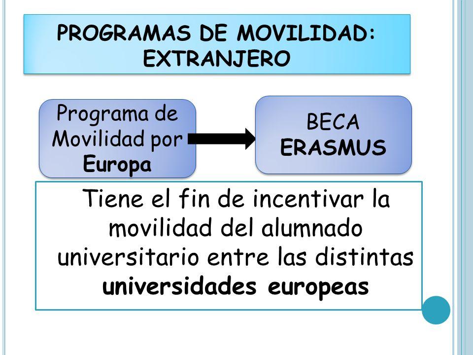 Tiene el fin de incentivar la movilidad del alumnado universitario entre las distintas universidades europeas PROGRAMAS DE MOVILIDAD: EXTRANJERO Progr