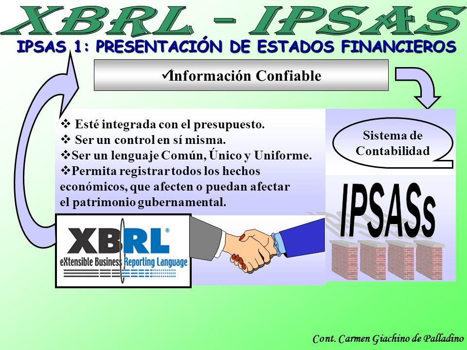 Cont. Carmen Giachino de Palladino Información Confiable IPSAS 1: PRESENTACIÓN DE ESTADOS FINANCIEROS Esté integrada con el presupuesto. Ser un contro