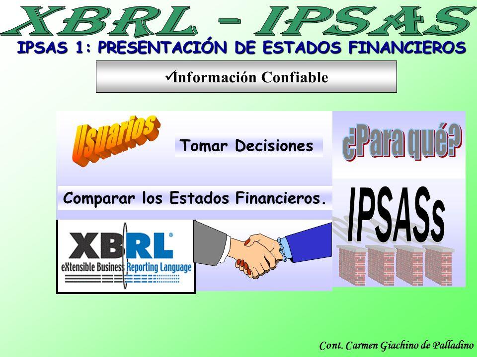 Cont. Carmen Giachino de Palladino Comparar los Estados Financieros. Tomar Decisiones Información Confiable IPSAS 1: PRESENTACIÓN DE ESTADOS FINANCIER