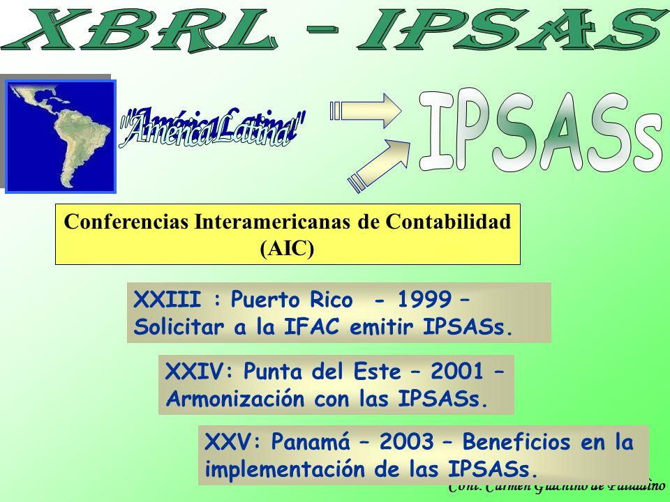 Cont. Carmen Giachino de Palladino Conferencias Interamericanas de Contabilidad (AIC) XXIII : Puerto Rico - 1999 – Solicitar a la IFAC emitir IPSASs.