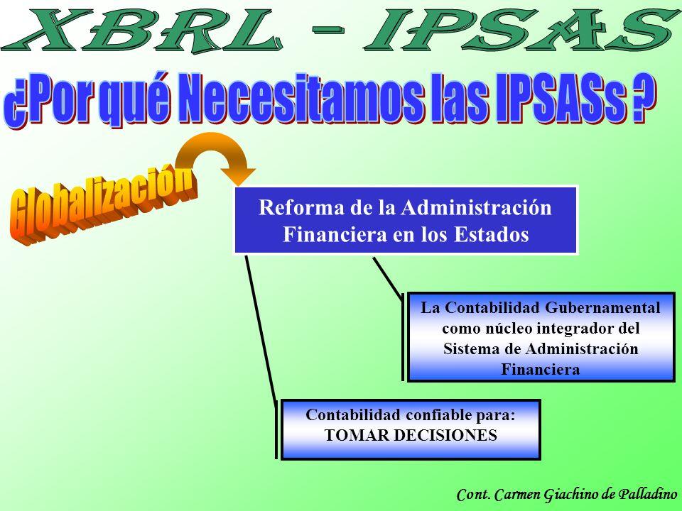 Cont. Carmen Giachino de Palladino Reforma de la Administración Financiera en los Estados La Contabilidad Gubernamental como núcleo integrador del Sis