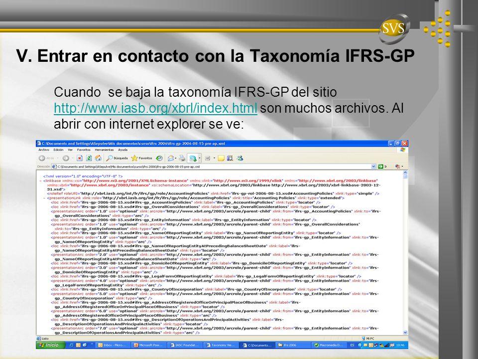 V. Entrar en contacto con la Taxonomía IFRS-GP Cuando se baja la taxonomía IFRS-GP del sitio http://www.iasb.org/xbrl/index.html son muchos archivos.