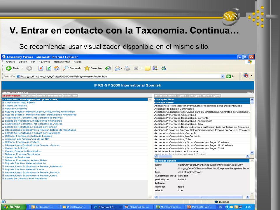 V. Entrar en contacto con la Taxonomía. Continua… Se recomienda usar visualizador disponible en el mismo sitio.