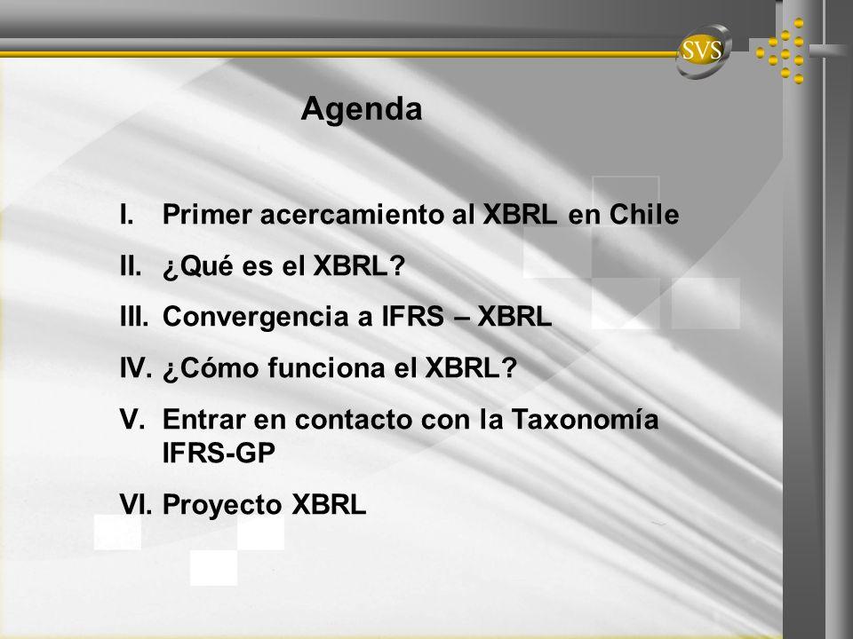 Agenda I.Primer acercamiento al XBRL en Chile II.¿Qué es el XBRL? III.Convergencia a IFRS – XBRL IV.¿Cómo funciona el XBRL? V.Entrar en contacto con l