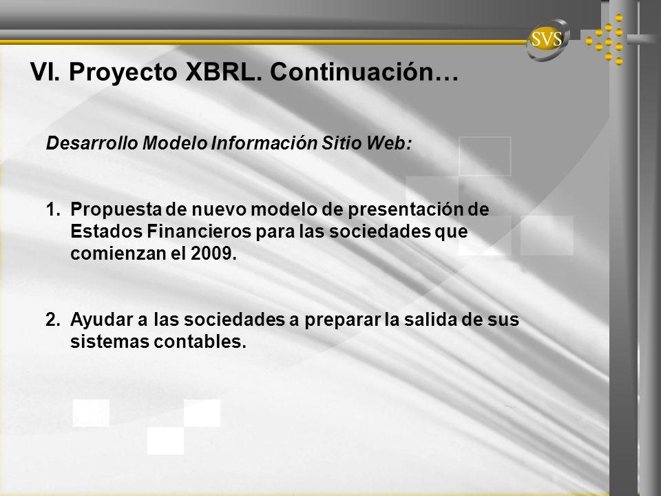 VI. Proyecto XBRL. Continuación… Desarrollo Modelo Información Sitio Web: 1.Propuesta de nuevo modelo de presentación de Estados Financieros para las