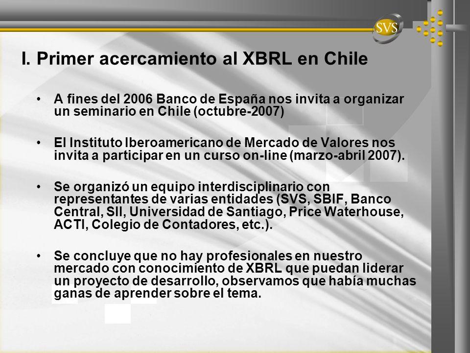 I. Primer acercamiento al XBRL en Chile A fines del 2006 Banco de España nos invita a organizar un seminario en Chile (octubre-2007) El Instituto Iber